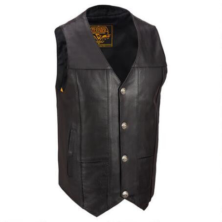 Milwaukee Leather Fully Lined Leather Motorcycle Vest w/ Snap Closure