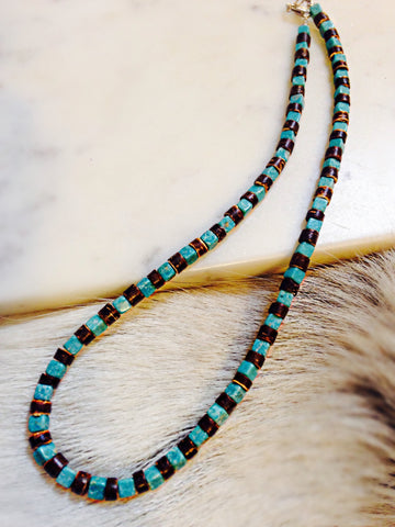 Beaded Shell and Turquoise Necklace