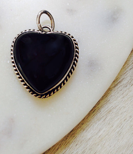 Black Onyx Heart Shaped Pendent