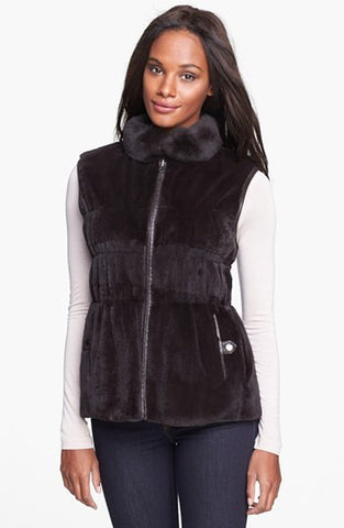 Sheared Rex Rabbit Fur Vest Reversible to Lambskin Leather