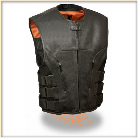 Milw Conceal Carry Mens Leather Swat Style Collarless Motorcycle Vest