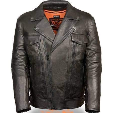 Milwaukee Leather Mens High End Leather Utility Pocket Vented Cruiser Jacket