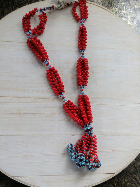 Baluchi Beaded Tassel Necklace Red Glass Beads (#6687)