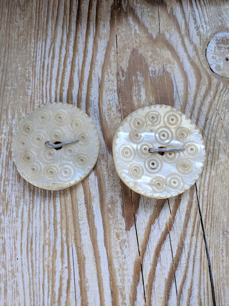 Pair BIG Mother of Pearl Sadaf Buttons From Kohistan District (#8290)
