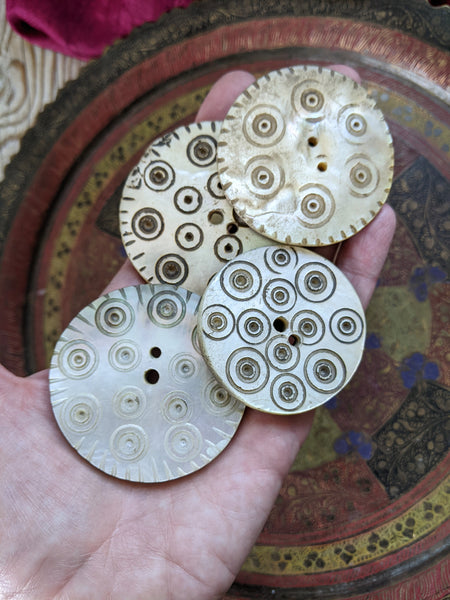 BIG Mother of Pearl Sadaf Buttons From Kohistan District 4x (#8301)