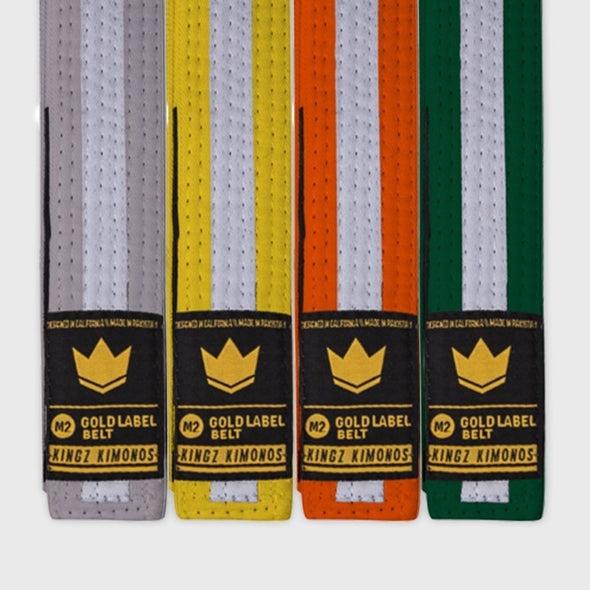 Kingz Gold Label V2 Kids Belt - White Stripe - KINGZ KIMONOS