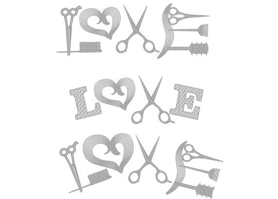 Hairstylist love words machine embroidery designs set