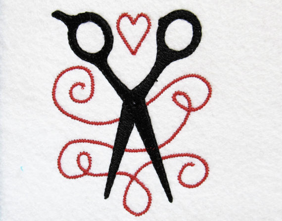 Hairstylist love machine embroidery design