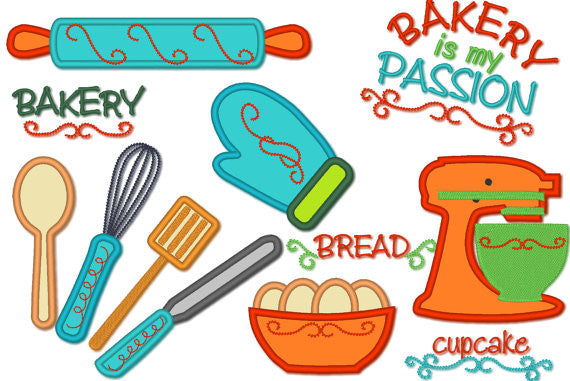 Cooking Bakery tools machine embroidery designs set