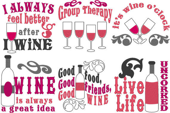 All about wine ... Wine quotes... awesome bottle bag embroidery mini designs