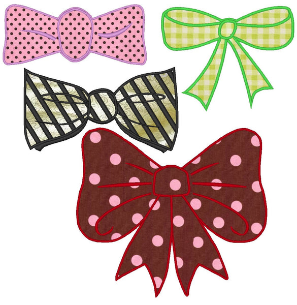 Bow and Tie, collection of 4 applique embroidery