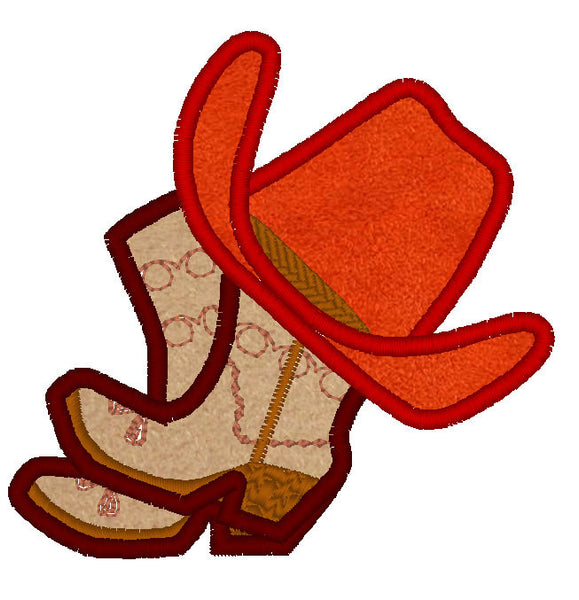 Cowboy and cowgirl hat and boots applique collection