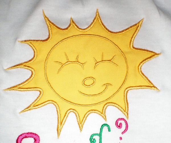 Summer Sun embroidery and applique