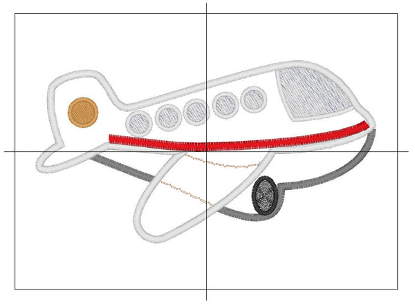 Airplane embroidery applique