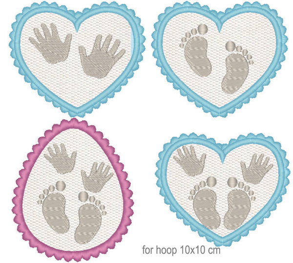 Baby Inside collection of 4 shapes embroidery applique