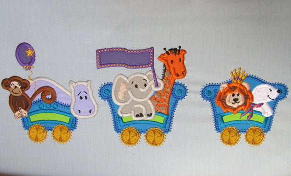 Circus Train with monkey, elephant, lion, hippo, bear, giraffe and clown