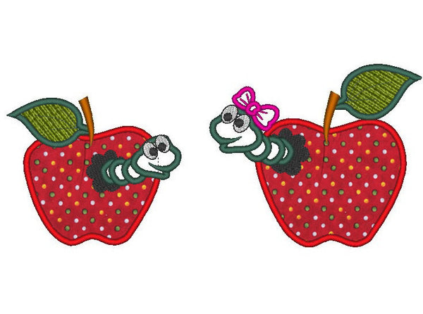 Apple Worm applique embroidery