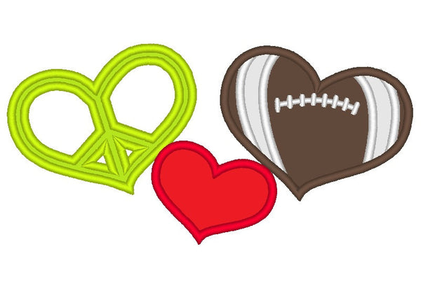 Peace Love Football applique