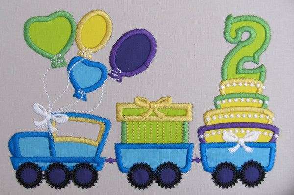Birthday Train with cake and gift pack applique designs