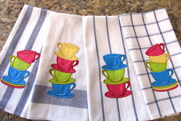 Collection of 4 types single Stack of teacups applique embroidery
