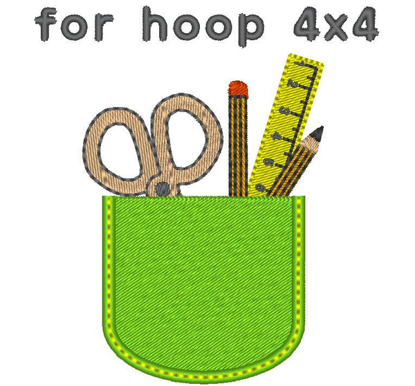 Teacher's functional pocket In the hoop