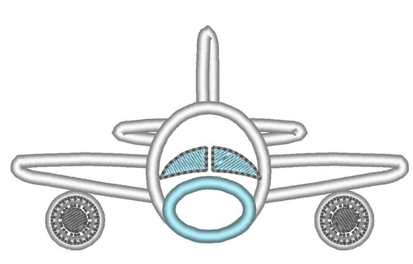 Airplane front view adorable embroidery applique