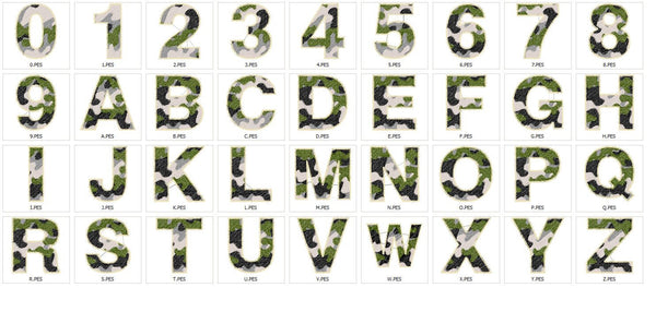 Camo, Camouflage Font Embroidery