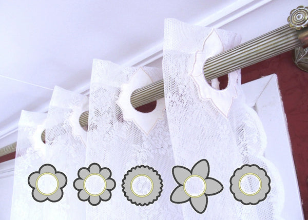 Curtain holes - Flowers collection in the hoop