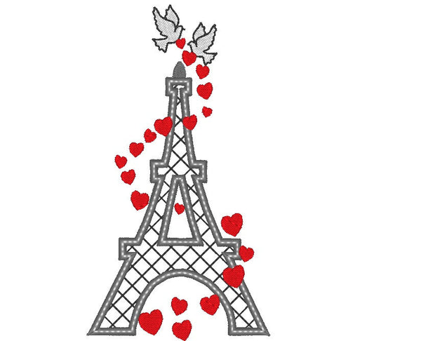 Eiffel tower and love embroidery and applique