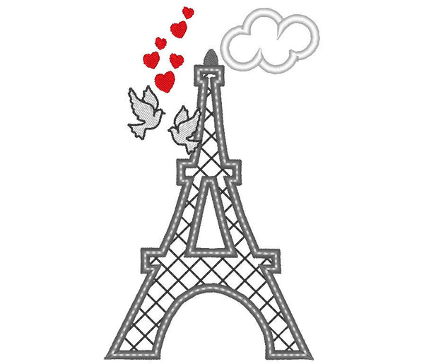 Eiffel tower - love - applique and embroidery