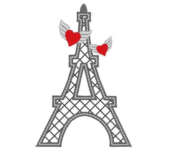 Eiffel tower winged love embroidery and applique