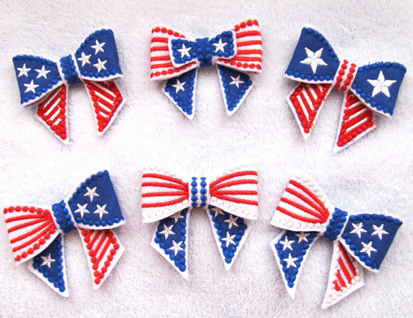 Independence Day bows in the hoop