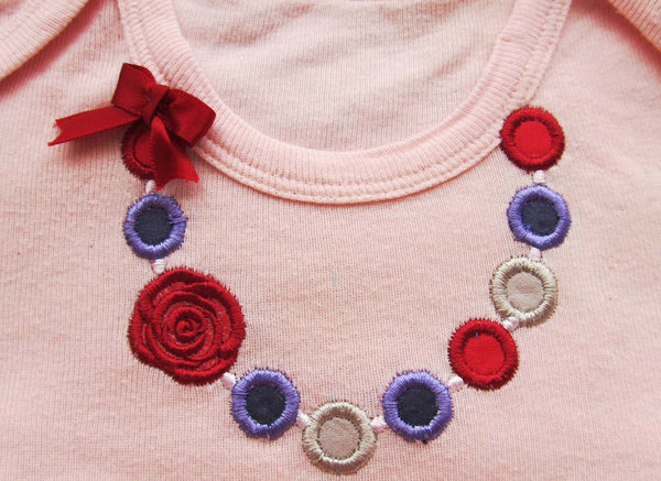 Set of 4 different Necklaces embroidery appliques