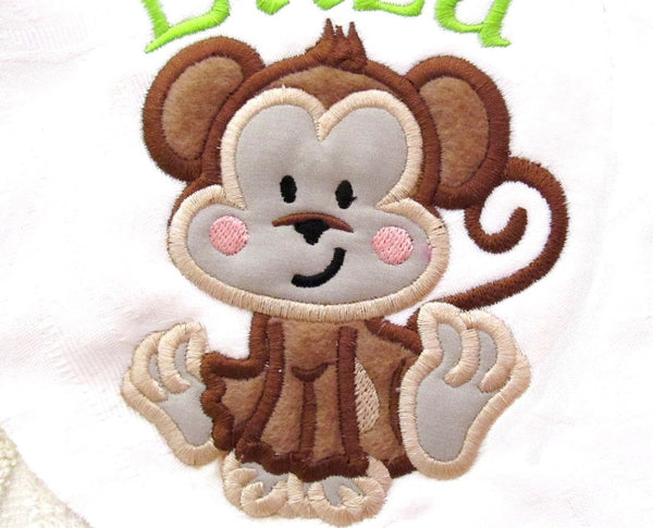Monkey Nerd and Girly Monkey with bow embroidery and applique