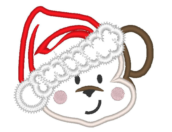 Christmas little monkey face applique