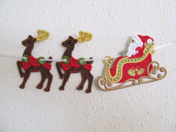 Santa Sleigh and deers banners in the hoop