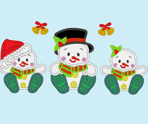 Snowman babies set of 3 separate embroidery appliques