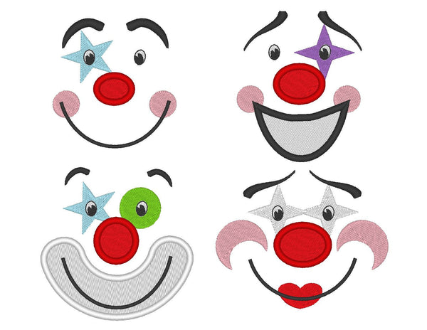 Adorable clown faces collection of 4 types