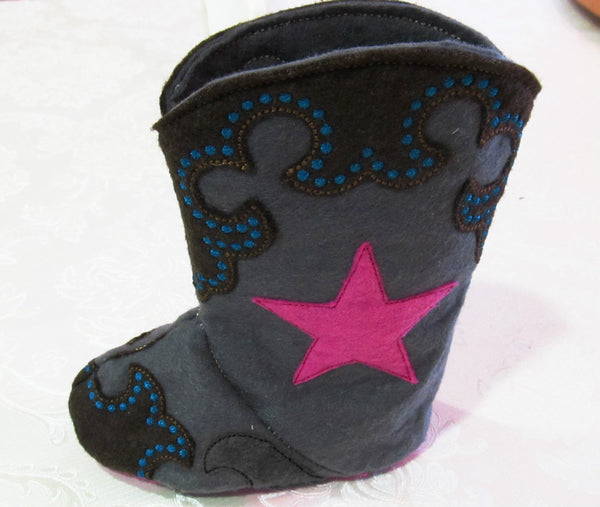 Baby Cowboy boots - Felt  In the hoop project - pattern for easier assembly