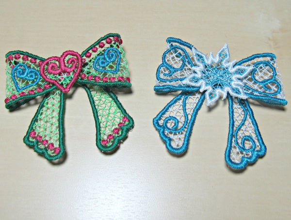 Frozen and Flourish Bows - FSL, Freestanding lace