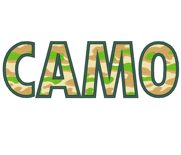 CAMO, CAMOUFLAGE APPLIQUE EMBROIDERY FONT