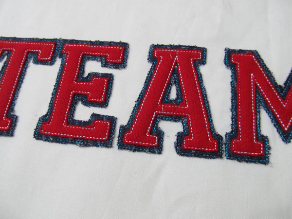 SPORT double outline block collegiate applique embroidery alphabet font