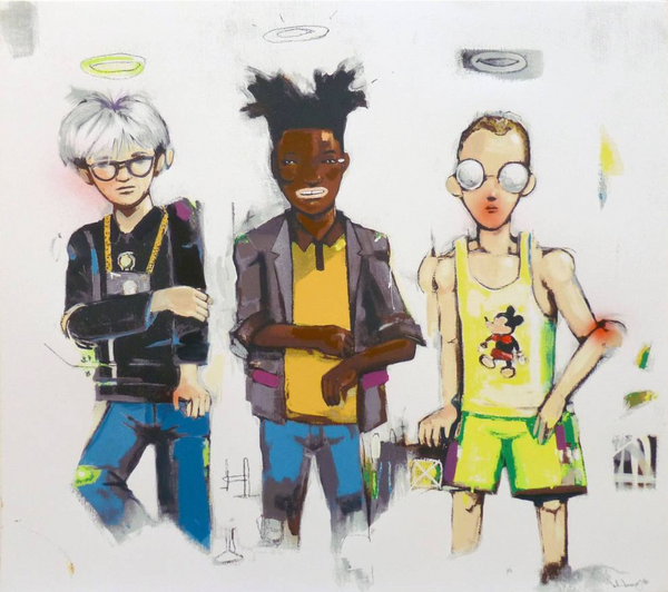 Hebru Brantley: Hand-Embellished 'Three The Hard Way'