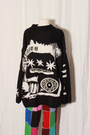VINTAGE 80's Abstract Eye Sweater