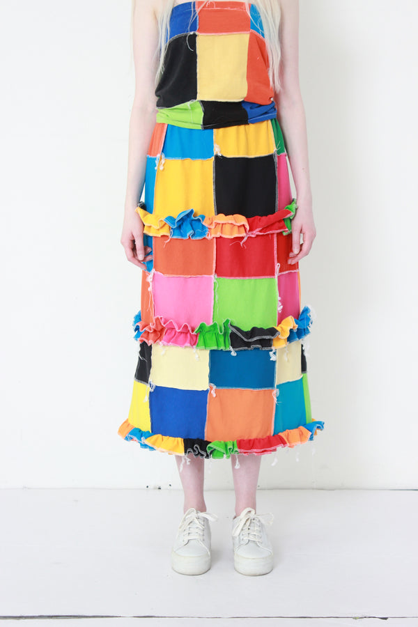color block rainbow skirt