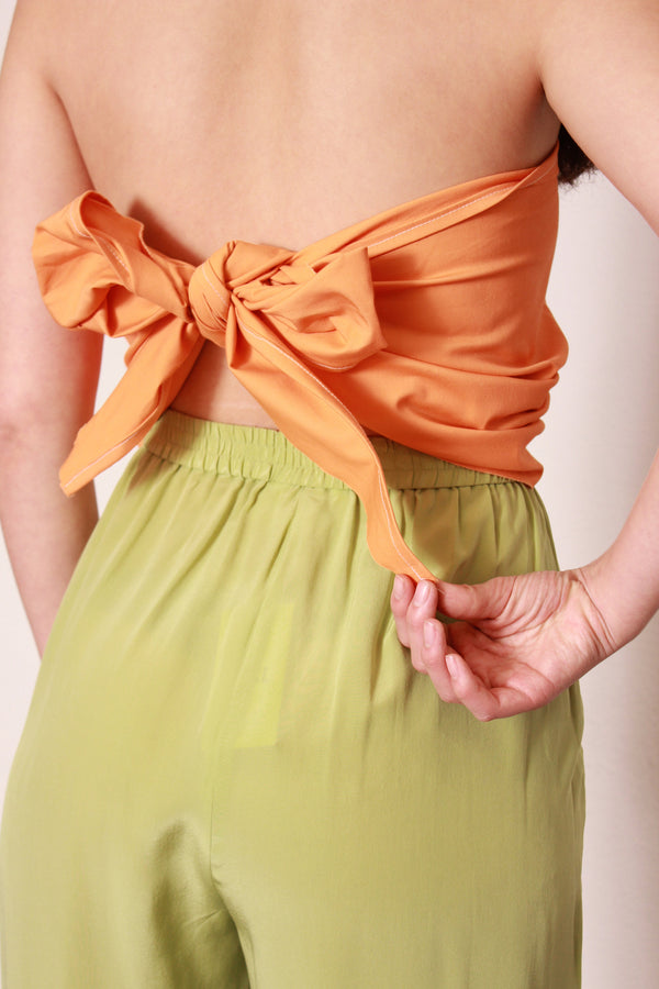 Orange Bow Jumpsuit / Handmade Color Block Outfit / Large Extra Large