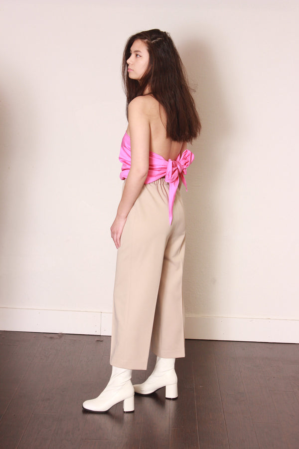 Strapless Tie Back Jumpsuit / Pink Wrap Festival Clothes / Medium Large