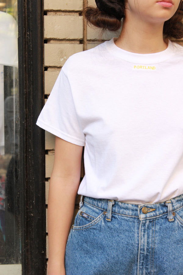 White Portland Small Font Tee Shirt - Yellow Embroidery