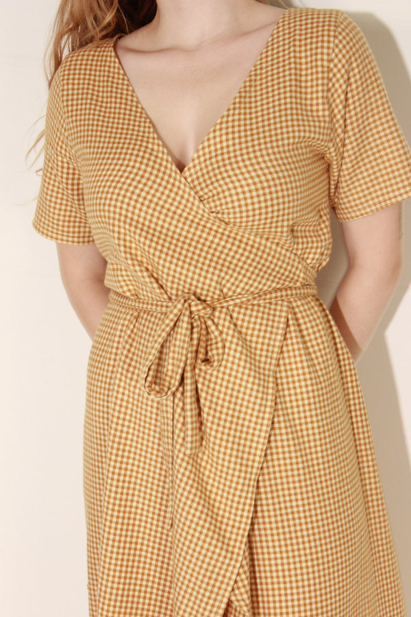 Long Gingham Flannel Dress