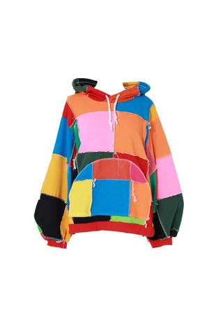 Asterdawn color block patchwork hoodie